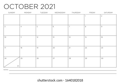 October 2021 Single Month Calendar Page Fits 11x17 Inch Print Modern Blank Template