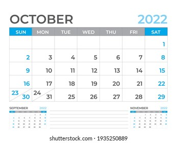 October 2022 page, Calendar 2022 template, Desk calendar, planner design, Wall calendar, week starts on sunday, stationery design, Desk office, organizer office, vector