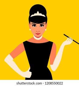 October 21, 2018: Cartoon Audrey Hepburn. Vector illustration. Editorial use only