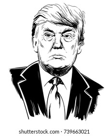 October 22, 2017: Portrait of Donald Trump. Vector illustration, sketch by hand. Editorial use only