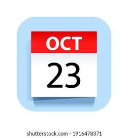 October 23. Calendar Icon. Vector Illustration.