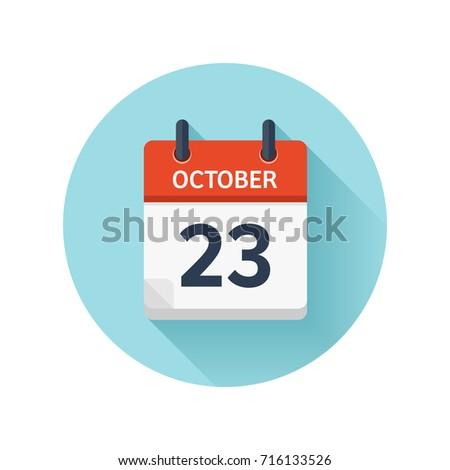 october 23 vector flat daily calendar のベクター画像素材
