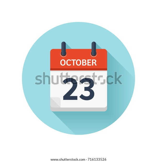October 23. Vector flat daily calendar icon. Date and time, day, month 2018. Holiday. Season.