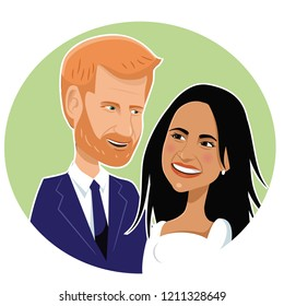 OCTOBER 24, 2018: London, England Caricature of Prince Harry and his wife Meghan Markle. Members of England's royal family. EPS10 vector illustration.