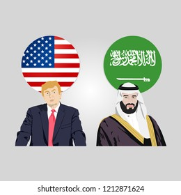 October 25, 2018: editorial vector illustration of the USA President Donald Trump and the crown prince of Saudi Arabia Mohammad Bin Salman Al Saud