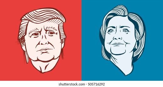 October, 28 2016: Illustration showing Republican Donald Trump vs Democrat Hillary Clinton for American president with words Election 2016 in stencil retro style