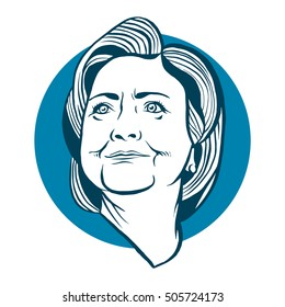 October, 28 2016: A vector illustration showing Democrat presidential candidate Hillary Clinton in hand draw style