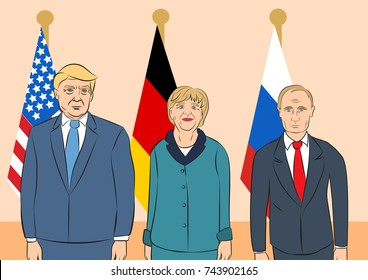 October 29, 2017. Editorial illustration of Russian President Vladimir Putin, the USA President Donald Trump, the Chancellor of Germany Angela Merkel on countries flags background.