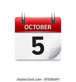 October  5. Vector flat daily calendar icon. Date and time, day, month. Holiday.