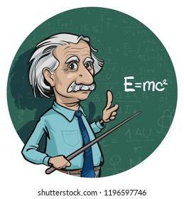 October 6, 2018. Portrait of Albert Einstein made in cartoon style. Hand drawn vector illustration. Editorial use only