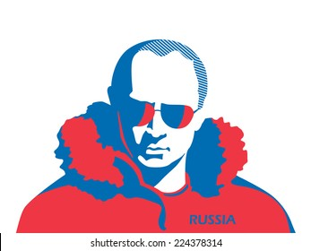 October 7 2014: A vector illustration, portrait of President Vladimir Putin in colors of the Russian flag