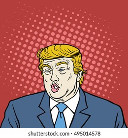 October 7, 2016: Donald Trump Pop Art Caricature Portrait Vector