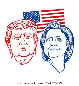 October, 7 2016: Illustration showing Republican Donald Trump vs Democrat Hillary Clinton for American president with words Election 2016 in stencil retro style