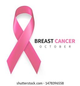 October breast cancer awareness month in. Realistic pink ribbon symbol. Medical Design. Vector illustration.