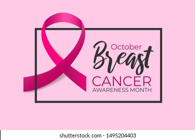 October breast cancer awareness month. Realistic pink ribbon on color background with black frame. Concept design banner, poster for woman health care. Vector medicine illustration