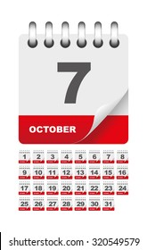October daily calendar icon set