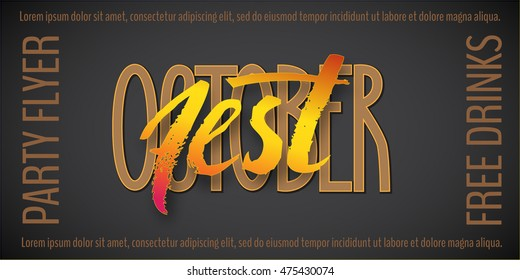 October fest banner on black background. Vector illustration for your Octoberfest flyers, posters and banners.