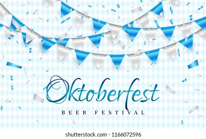 October fest Celebration party banner. Blue and white foil confetti and flag garland. Vector illustration.