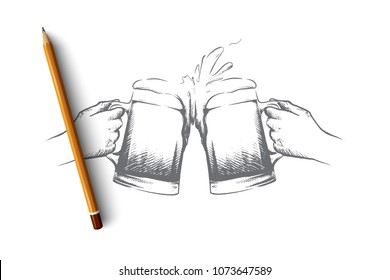 October fest concept. Hand drawn male hands with mugs of beer. Fresh beer with foam isolated vector illustration.