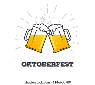 October fest concept. Two gig glasses with fresh yellow live beer and white foam, and bubbles. Line style flat vector illustration. Beer festival concept. Lager sort. Clinking beer glasses.