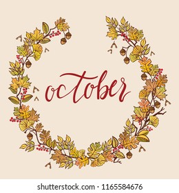 October - hand drawn vector illustration fall leaves wreath