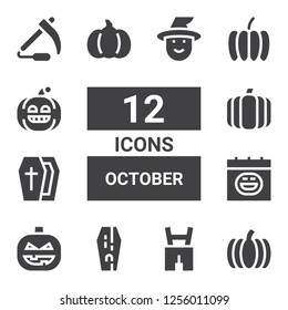 october icon set. Collection of 12 filled october icons included Pumpkin, Lederhosen, Coffin, Halloween, Scythe, Witch