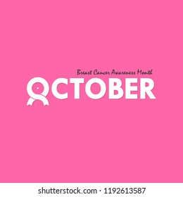 October typographical & ribbon icon.Breast Cancer October Awareness Month Typographical Campaign Background.Women health vector design.Breast cancer awareness logo design.Breast cancer awareness month