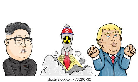 October,5,2017: Caricature character illustration of Kim Jong Un and Donald Trump. Vector.