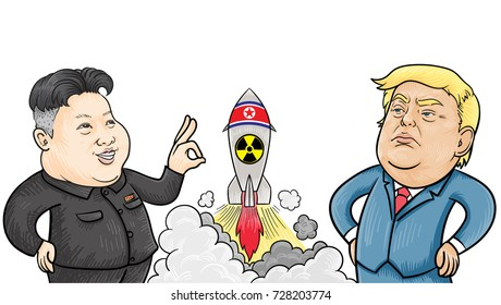 October,5,2017: Caricature character illustration of Kim Jong Un and Donald Trump. Vector.