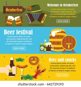 Octoberfest banner horizontal concept set. Flat illustration of 3 Octoberfest vector banner horizontal concepts for web