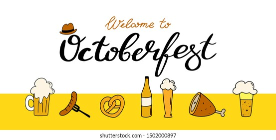 Octoberfest banner with text.calligraphy hand lettering with traditional symbols.Munich beer festival. Easy to edit vector template for your logo design,poster,banner,flyer,brochure,etc.