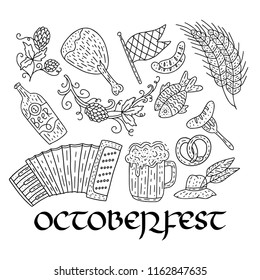 Octoberfest beer festival doodle hand drawn set. Vector illustration. Octoberfest festival icons.