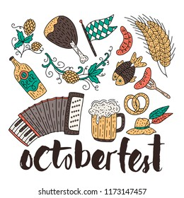 Octoberfest beer festival doodle hand drawn set. Vector illustration. Octoberfest color festival icons.