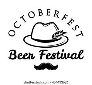 Octoberfest  beer retro vintage badge, logo, emblem, label. Vector illustration. Beer festival. German hunting hat with feather and moustache.