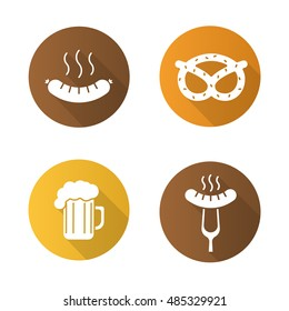 Octoberfest beer and snacks flat design long shadow icons set. Steaming sausage on fork, bratwurst, brezel, foamy beer glass. Vector silhouette symbols