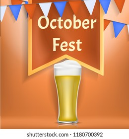 Octoberfest concept banner. Realistic illustration of octoberfest vector concept banner for web design