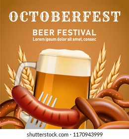 Octoberfest fectival concept background. Realistic illustration of octoberfest fectival vector concept background for web design