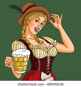 octoberfest german girl waitress in traditional clothes sitting on a beer barrel hanging beer mug