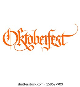 Octoberfest gothic calligraphic hand lettering