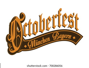 Octoberfest gothic calligraphic hand lettering.
