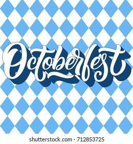 Octoberfest hand lettering with 3d shadow, custom typography on blue argyle pattern background. Vector illustration.