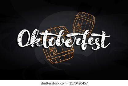 "Octoberfest hand-written lettering card for Germany trafitional october beer festival celebration. White text ""OCTOBERFEST"" on doodle beer barrels drawn on black chalkboard."