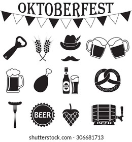 Octoberfest icon set. German food and beer symbols isolated on white background. Vector illustration. Oktoberfest beer festival flat icons design