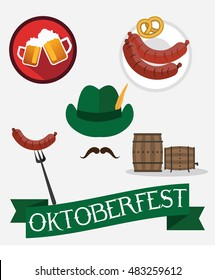 Octoberfest icon set: pretzel, beer , sausage, hat. Oktoberfest beer festival design elements