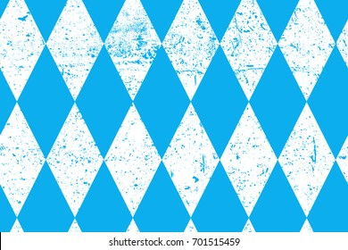 Octoberfest seamless pattern with old texture.  Vintage October munich fest background. Rhomb blue ornament with grunge texture