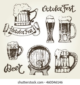 Octoberfest. Vector  beer glasses and mugs  hand drawn style. Drink beer. Vector illustration.