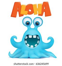 Octopus alien monster emoji character with aloha title. Vector illustration