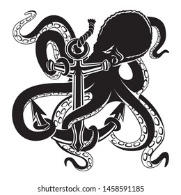Octopus with anchor black sign on a white background.
