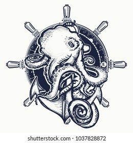 Octopus and anchor tattoo. Symbol of a sea adventure, ocean