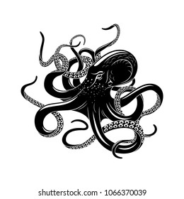 Octopus black silhouette of sea monster. Evil kraken or giant deep water beast with curved tentacles isolated symbol for tattoo, nautical heraldry or marine club emblem design